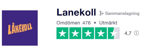 Trustpilot betyg för Lånekoll